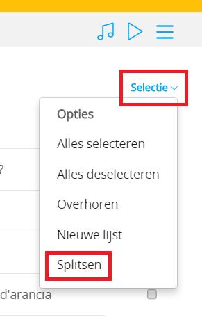 Lijsten splitsen   selectie  splitsen